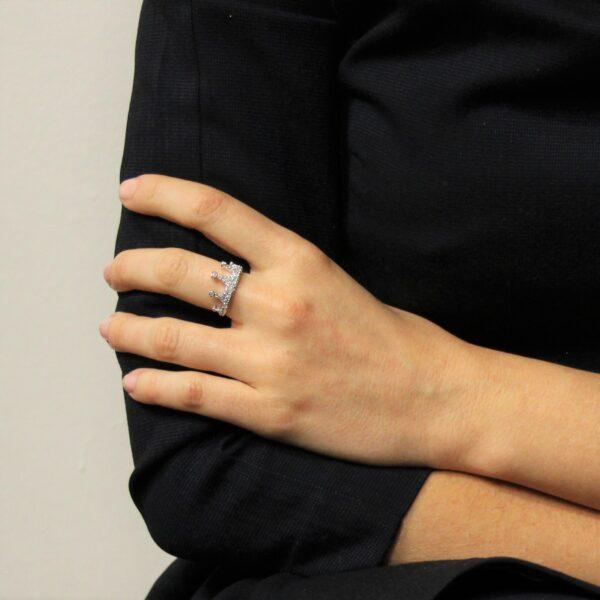 anello corona oro e diamanti