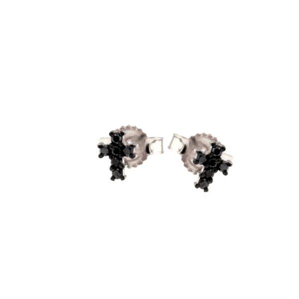 orecchini croce con diamanti neri
