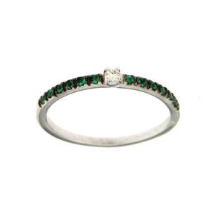 anello riviera con smeraldi e diamante