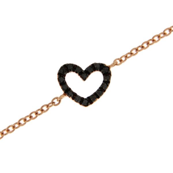 bracciale cuore con diamanti neri