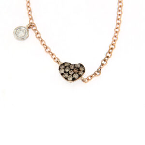 collana con cuore e diamanti brown