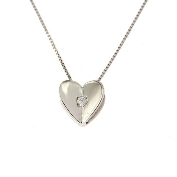 girocollo cuore in oro e diamante