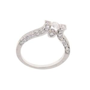 anello solitario diamanti 0.16 e diamante 0.56