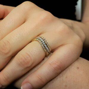 anello tre colori con diamanti