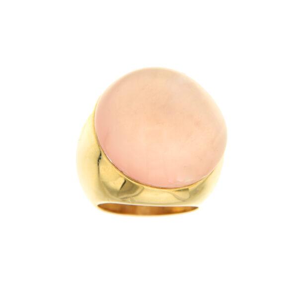 anello oro e quarzo rosa