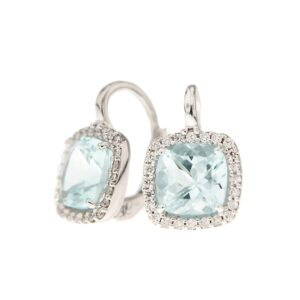 orecchini in oro 18 kt con diamanti e acquamarina