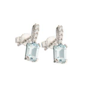 orecchini in oro con acquamarine e diamanti