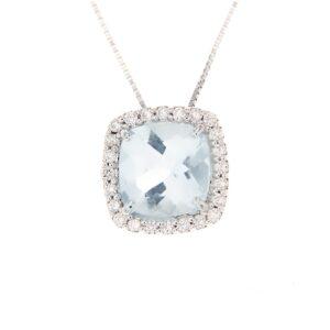 ciondolo con acquamarina e diamanti